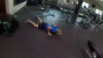 Guy Attempting Box Jump in Gym Falls to Ground
