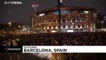 Catalan separatist activists symbolically 'clean' Barcelona