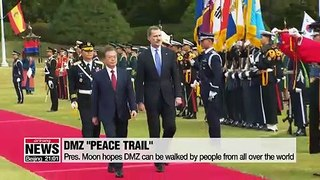 Pres. Moon hopes DMZ can resemble the Santiago trail in Spain