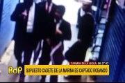 Sujeto vestido como marino es captado robando relojes en galería del Callao