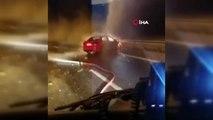 Siirt'te bariyerlere çarpan araç alev alarak yandı