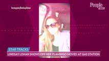 Lindsay Lohan Shows Off Her 'Flamingo Moves' While Dancing in a Pink Jumpsuit at a Gas Station
