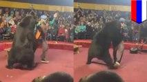 Bear slams trainer who forced it to push wheelbarrow in Russia