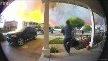 Des habitants de Santa Clarita ont été filmés par une caméra de surveillance en train de fuir leurs domiciles