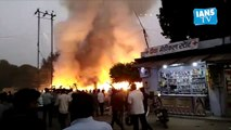 Fire breaks out at a cracker market in Agra