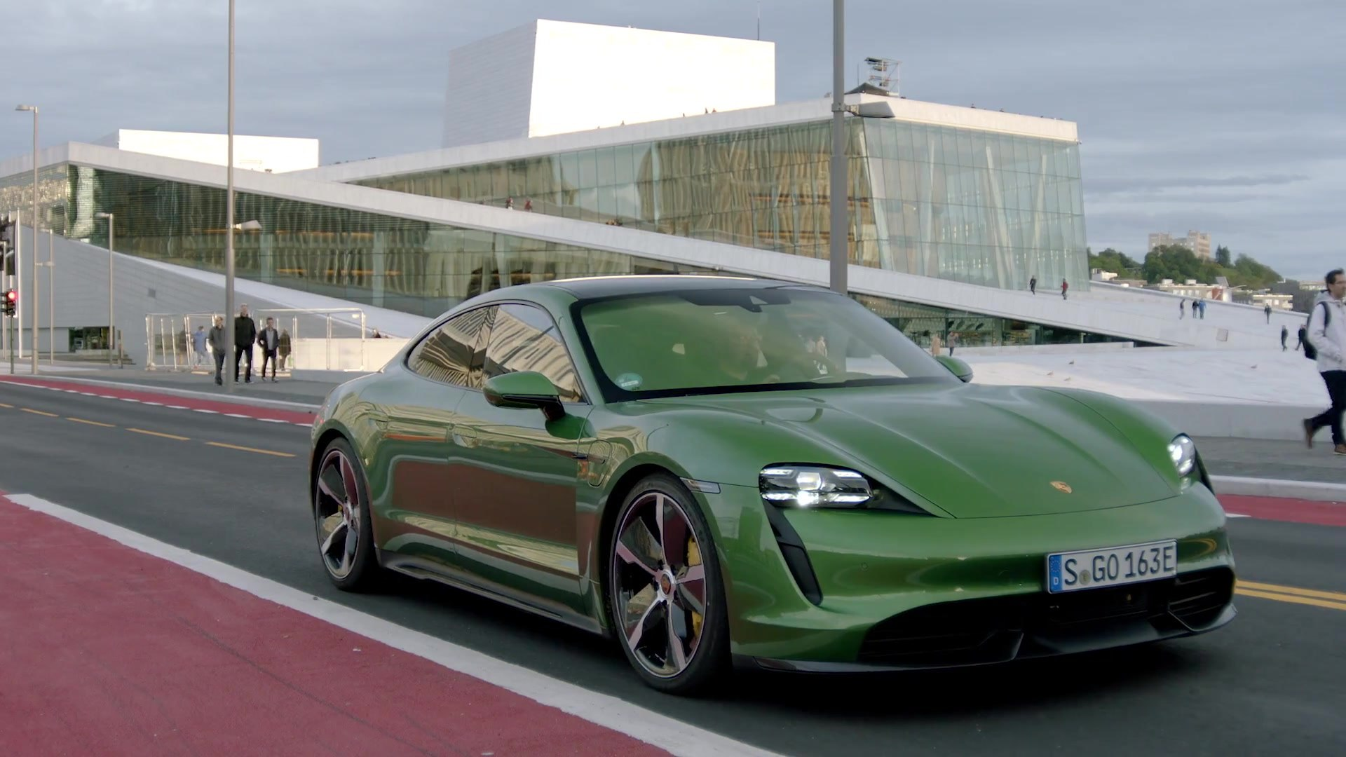 The New Porsche Taycan Turbo S In Mamba Green Driving Video Video Dailymotion