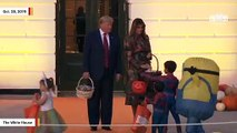 Watch Trump Awkwardly Hand Out Halloween Candy