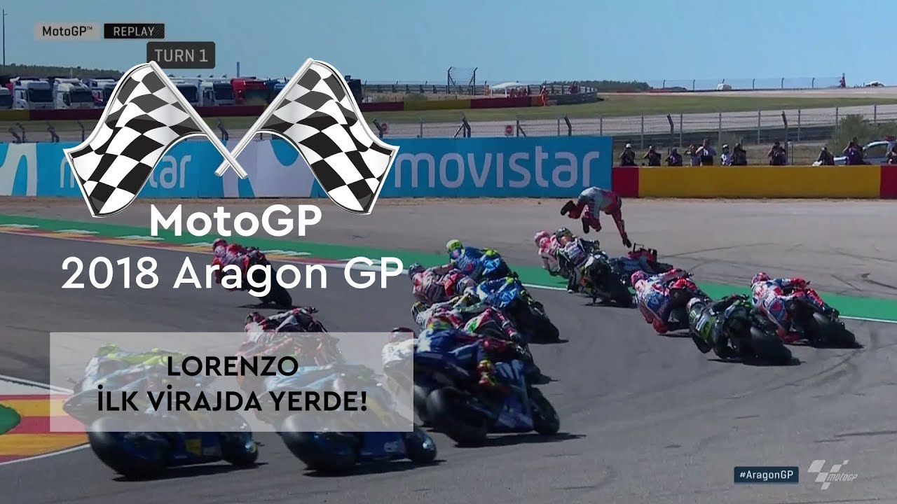 Lorenzo, Start'ın Ardından Yerde! (2018 MotoGP - Aragon Grand Prix)