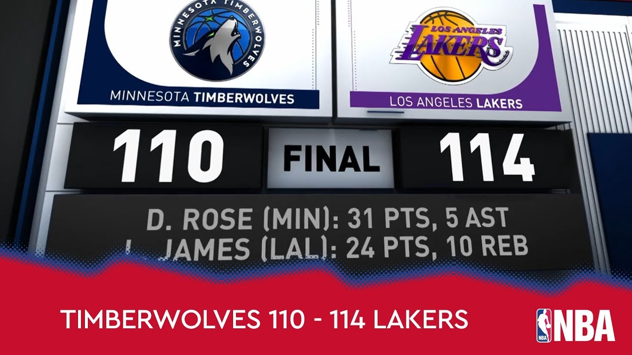 Minnesota Timberwolves 110 - 114 Los Angeles Lakers