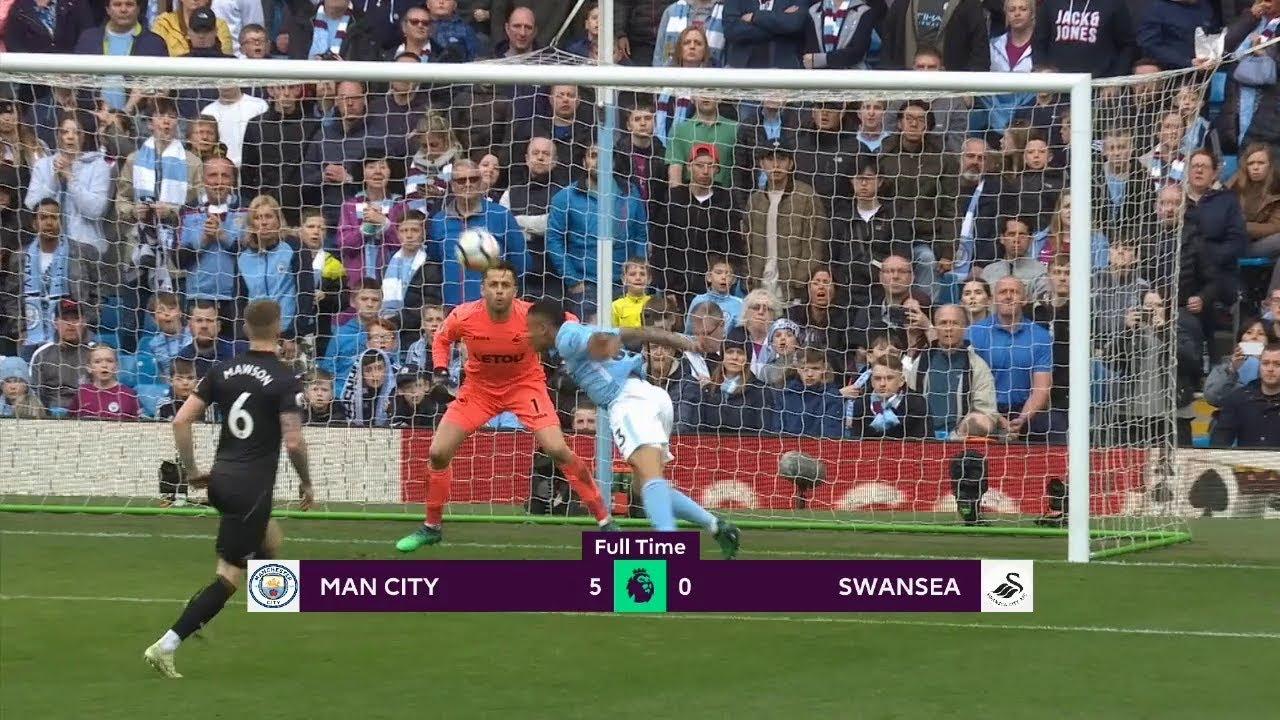 Manchester City - Swansea (5-0) - Maç Özeti - Premier League 2017/18