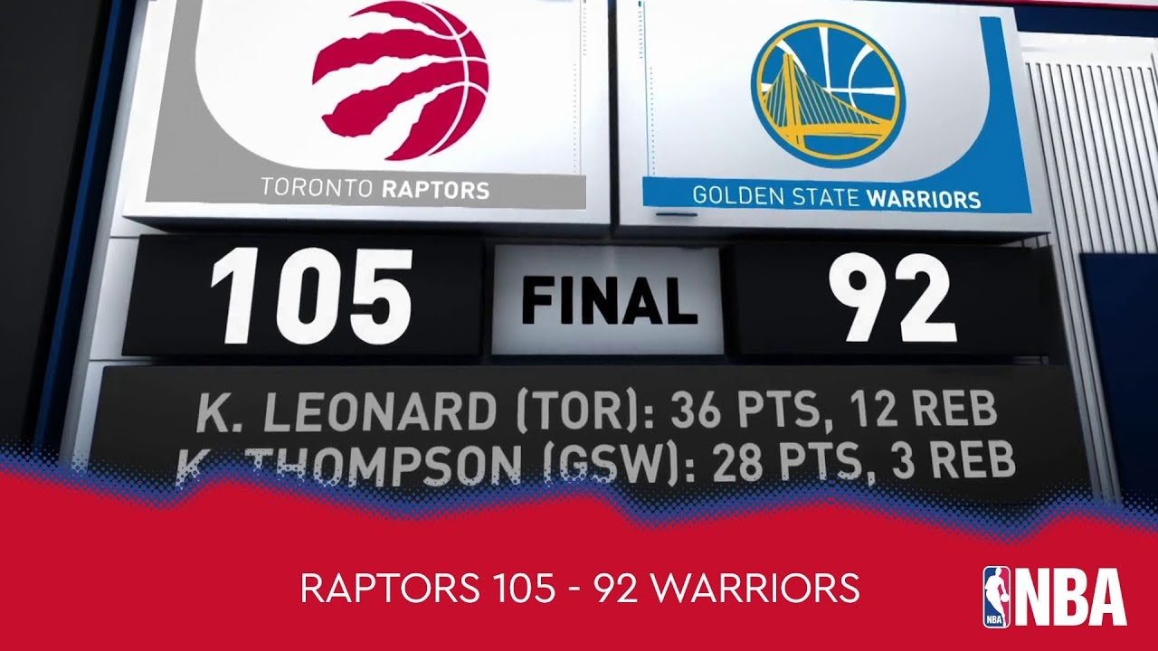 Toronto Raptors 105 - 92 Golden State Warriors