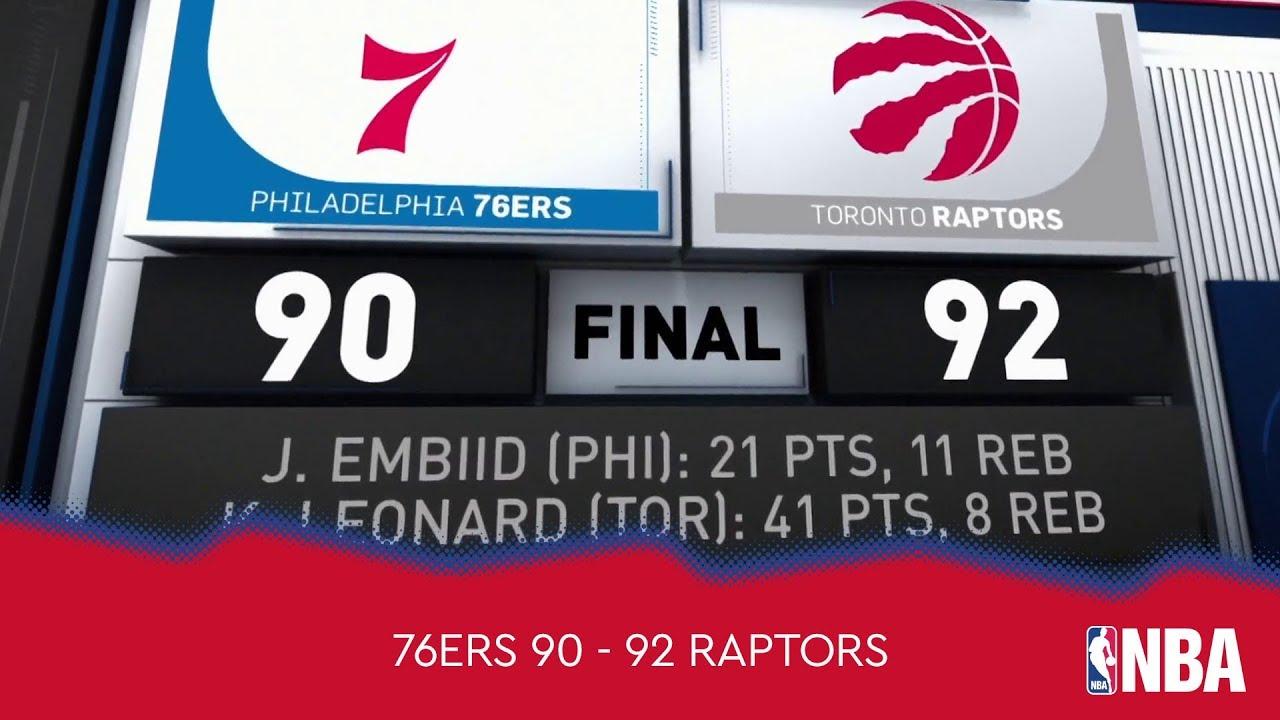 Philadelphia 76ers 90 - 92 Toronto Raptors