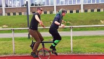 Duo attempt to ride two-seated unicycle in Germany