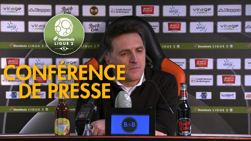 Conférence de presse FC Lorient - Le Mans FC (4-2) : Christophe PELISSIER (FCL) - Richard DEZIRE (LEMANS) - 2019/2020