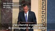Le sénateur républicain Mitt Romney dit qu'il va voter pour condamner Trump