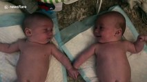 Amazing moment 4-month-old twins recognize each other for the first time