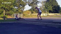 Ouch! Hilarious yet painful moment girl hits her crotch with the skateboard