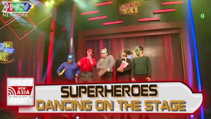 Are you talented?: Superheroes dancing on the stage