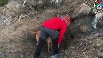 Se suspende temporalmente la búsqueda de los dos trabajadores sepultados bajo las rocas ayer en el vertedero de Zaldíbar