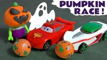 Hot Wheels Spooky Challenge Pumpkin Funlings Race with Disney Pixar Cars 3 McQueen vs Toy Story and DC Comics Batman Family Friendly Full Episode English Vehicle