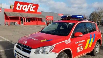 pompiers de Hannut, intervention au trafic