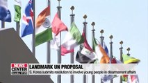 S. Korea submits resolution seeking invovlement of young people in disarmament affairs to UNGA committee