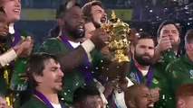 Slow mo of South Africa lifting the Webb Ellis Cup