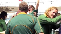 Fans in Cape Town celebrate South Africas Rugby World Cup win
