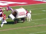 Des étudiants font une énorme chute sur un chariot pendant leur entrée sur le stade !