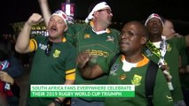 South African fans celebrate World Cup win