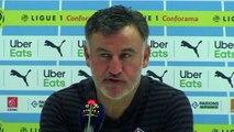 Football - Ligue 1 - Christophe Galtier en conférence de presse après la défaite du LOSC contre l'OM