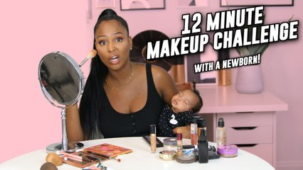 12 MINUTE MAKE UP CHALLENGE (With a baby in my arm) 