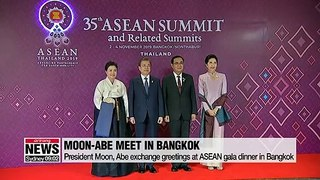 Moon and Abe exchange greetings at gala dinner in Bangkok amid frosty bilateral ties