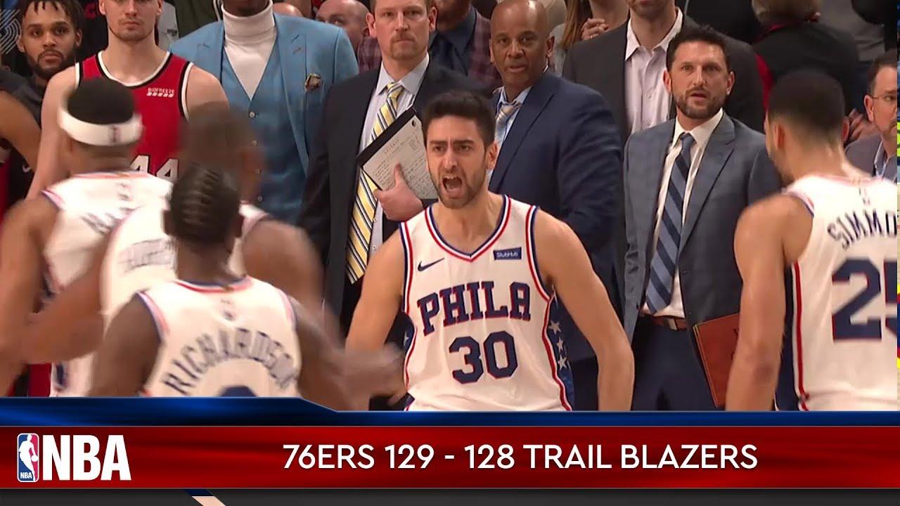 Philadelphia 76ers 129 - 128 Portland Trail Blazers