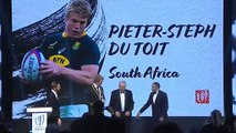 Pieter-Steph Du Toit accepts his World Rugby Men's 15s Player of the Year award in Tokyo