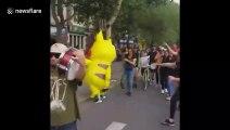 Dancing Pikachu has a hilarious fall in Chile