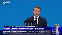 """À Shanghaï, Emmanuel Macron affirme que """"la guerre commerciale ne fait que des perdants"""""""