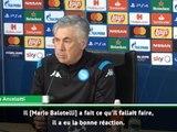 """Serie A - Ancelotti : """"Balotelli a eu la bonne réaction"""""""