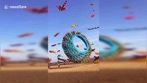 Animal-shaped kites fly in sky on Xiamen International Kite Festival