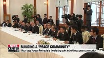 Moon says peace on Korean Peninsula is starting point in achieving peace community