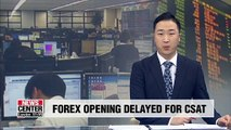 S. Korea's foreign exchange market to open 1 hour later on day of CSAT