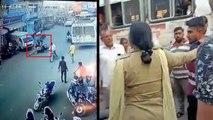 बाइक सवार युवक ने चालान काट रही लेडी कांस्टेबल को सड़क पर घसीटा, देखें वायरल वीडियो