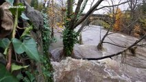 Surrounding land flooded as River Derwent water levels rise in Derbyshire