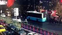 Beşiktaş'ta 1 kişinin ölümüne neden olan otobüs durağa böyle dalmış