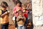 Çadır kentlere meyve dağıtıldı