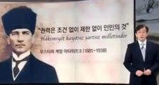 Güney Kore'de televizyon sunucusu Atatürk'e saygı için haberleri ayakta sundu