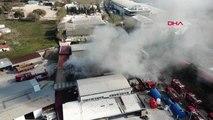 Tuzla'da fabrika yangini drone aktüel görüntüsü