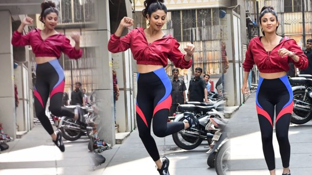 Shilpa Shetty JUMPS during fitness shoot;Watch video | FilmiBeat