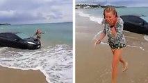 Elle veut faire une surprise à son copain en arrivant en voiture sur la plage