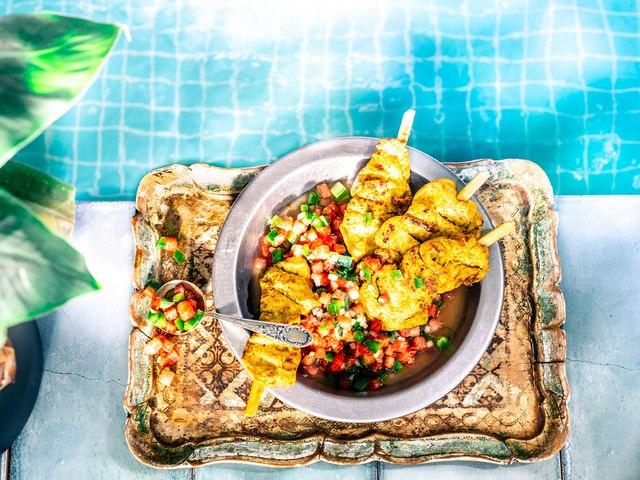Brochetas de pollo al estilo thai